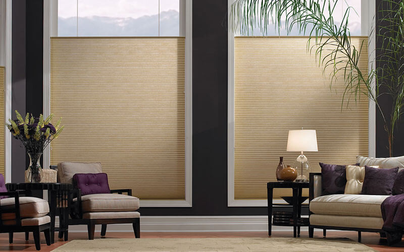 an image of a luxury home with large windows covered by honeycomb blinds